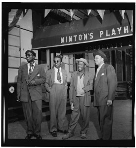 Minton's PLayhouse Thelonius Monk, Howard McGhee, Roy Eldridge, Teddy Hill photographed for Down Beat magazine by William Gottlieb ca. 1947. William P. Gottlieb/Ira and Leonore S. Gershwin Fund Collection