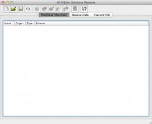 SQLite Database Browser appena aperto