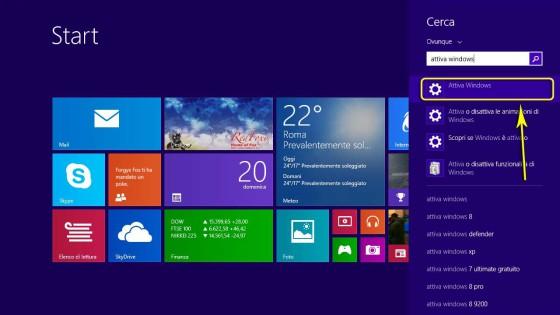 Come aprire l'interfaccia per attivare Windows
