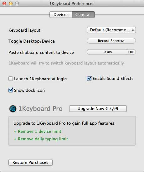 1keyboard - Configurazione General