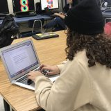 Student Itza Rodriguez looks over her English essay.