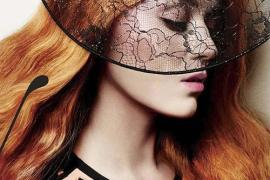 Katy Perry with long copper hair color for a photo shoot