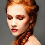 Long natural red braided hair