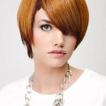 Sleek bob hair cut with ginger and brown colors