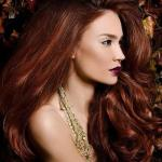 Hairstyle with french light auburn highlights