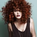 Brown red natural curly hairstyle
