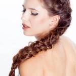Chestnut hair color long crown braids