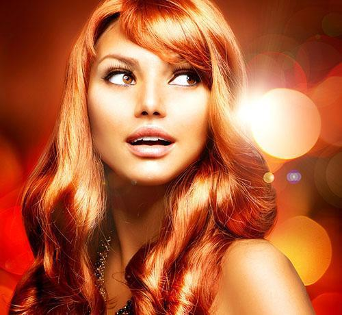 Shiny copper red hairstyle