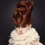 Brown red hair color with couture updo