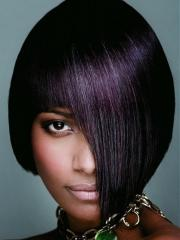 bob hairstyles with plum hair colors