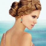 Long strawberry blonde hairstyle with thick reverse braided hairstyle