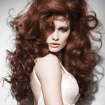 Long thick red auburn curly hair