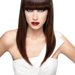 Sleek long hairstyle with bangs