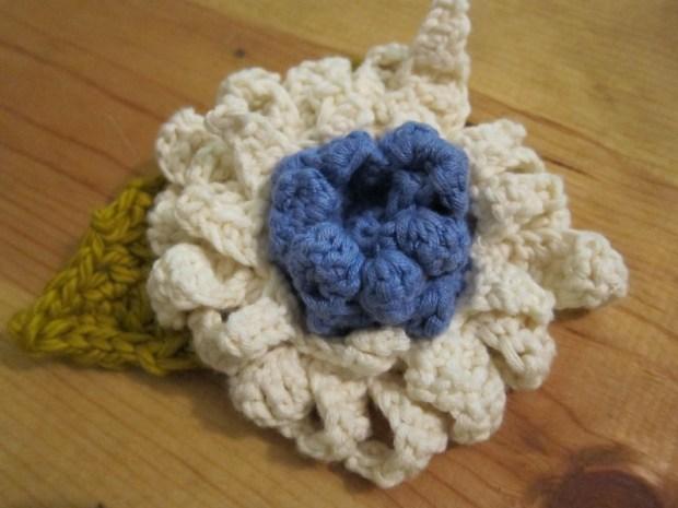 Crocheted Flower Brooch | Red-Handled Scissors