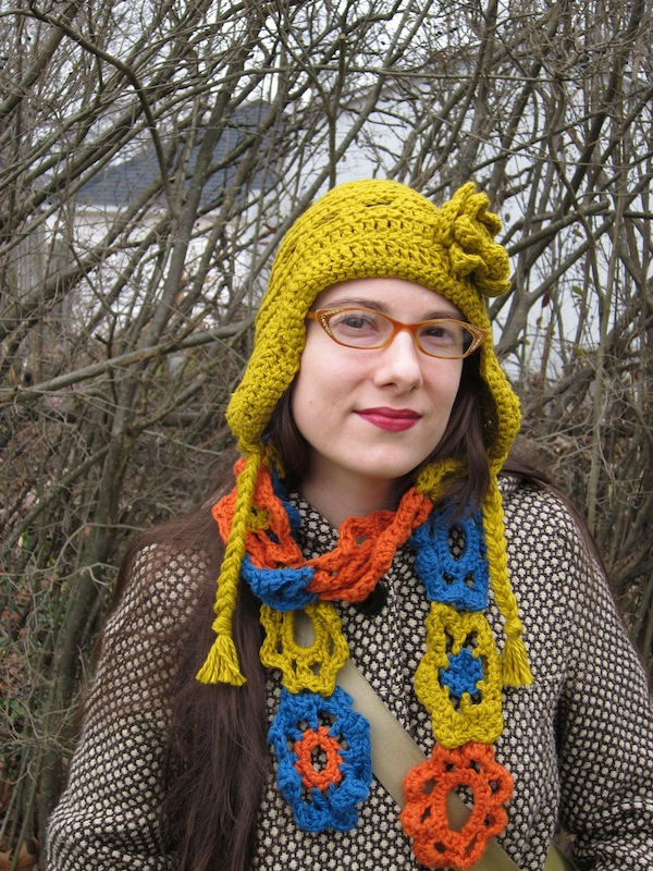 Sunday Snapshot: Crochet Hat and Scarf? Not so Boring.   Red-Handled Scissors