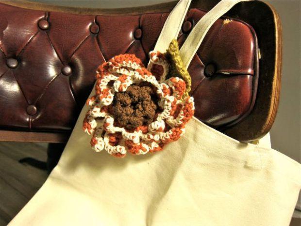 Crocheted Sunflower Brooch for Craftaholics Anonymous Handmade Gift Exchange | Red-Handled Scissors