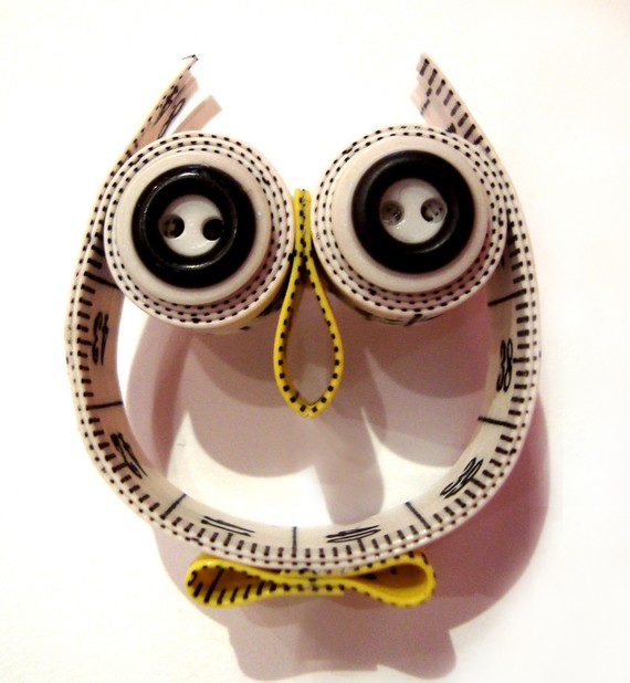 Friday Internet Crushes: Measuring Tape Owl Brooch | Red-Handled Scissors