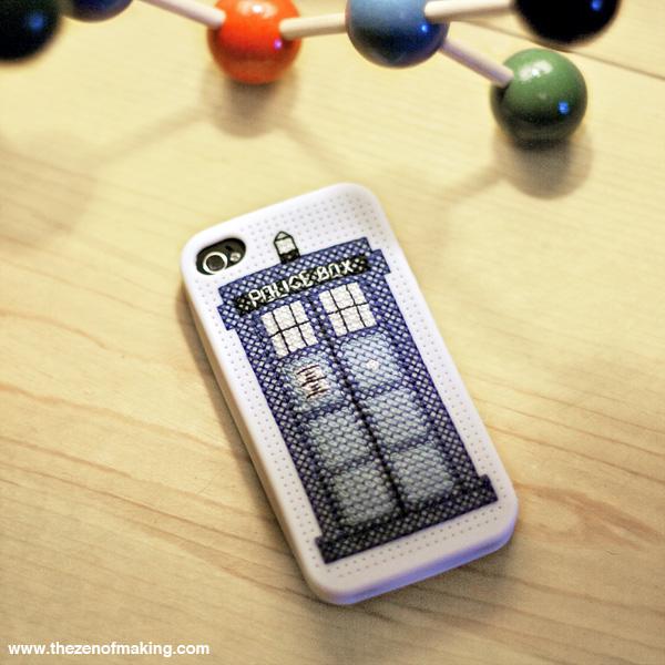 TARDIS iPhone Case Cross-Stitch Pattern | Red-Handled Scissors