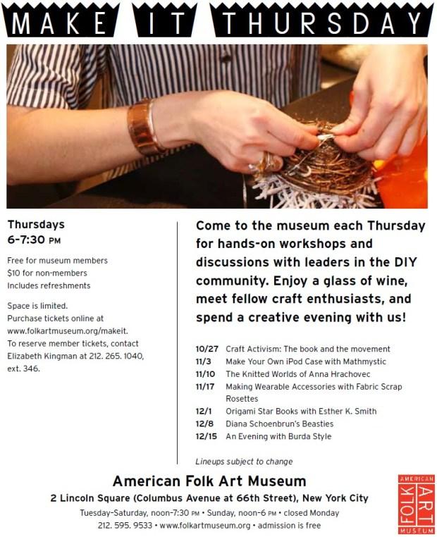 Join Me for Make It Thursday at the American Folk Art Museum | Red-Handled Scissors