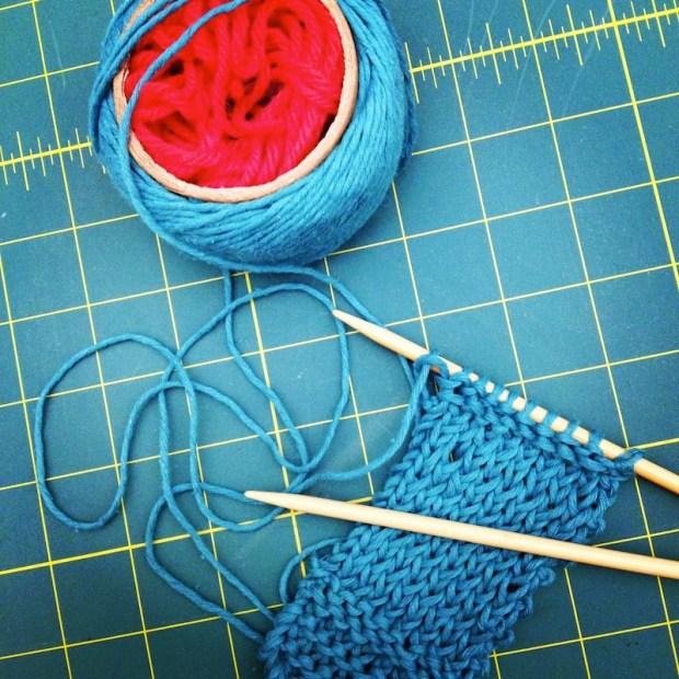 Sunday Snapshot: Knitting Continental   Red-Handled Scissors