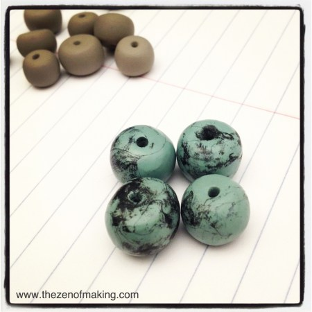 Polymer Clay Faux Turquoise Beads | Red-Handled Scissors