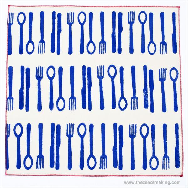 Tutorial: Modern Block Printed Napkins   Red-Handled Scissors