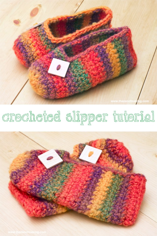 Crochet Pattern: Rainbow Striped Slippers: Make a cozy pair of crocheted slippers with this quick and easy rainbow striped slipper tutorial!