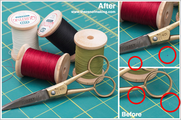 Tutorial: Retouching Spots & Stains in Your Craft Photos with iPhoto and Photoshop   Red-Handled Scissors