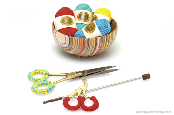 Things I Made from the Internet: Crocheted Scissor Grip Covers | Red-Handled Scissors