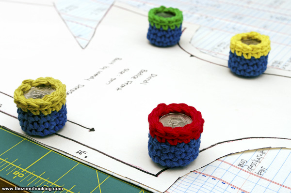 Tutorial: Crocheted Pocket Change Pattern Weights | Red-Handled Scissors