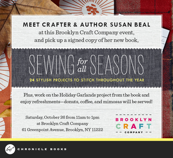 NYC Crafters: Come to the Sewing for all Seasons Book Party TOMORROW at Brooklyn Craft Company! | Red-Handled Scissors