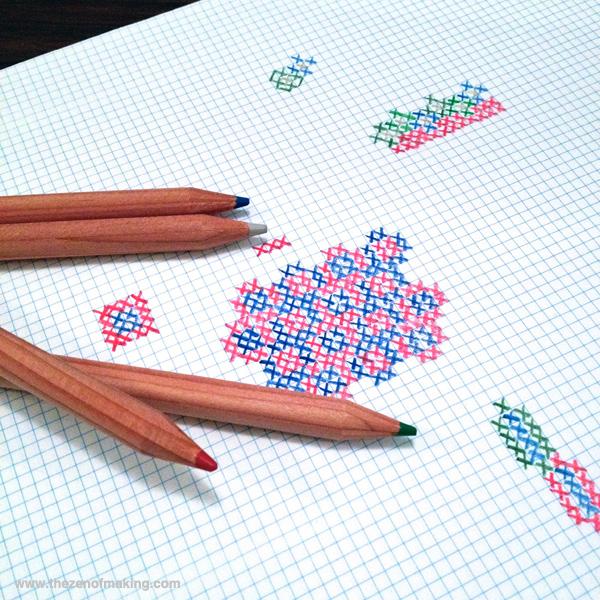 Sunday Snapshot: Hand-Sketching Cross-Stitch Patterns | Red-Handled Scissors