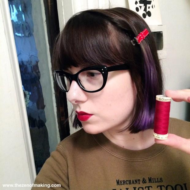 Sunday Snapshot: My Lipstick Matches My Thread! | Red-Handled Scissors
