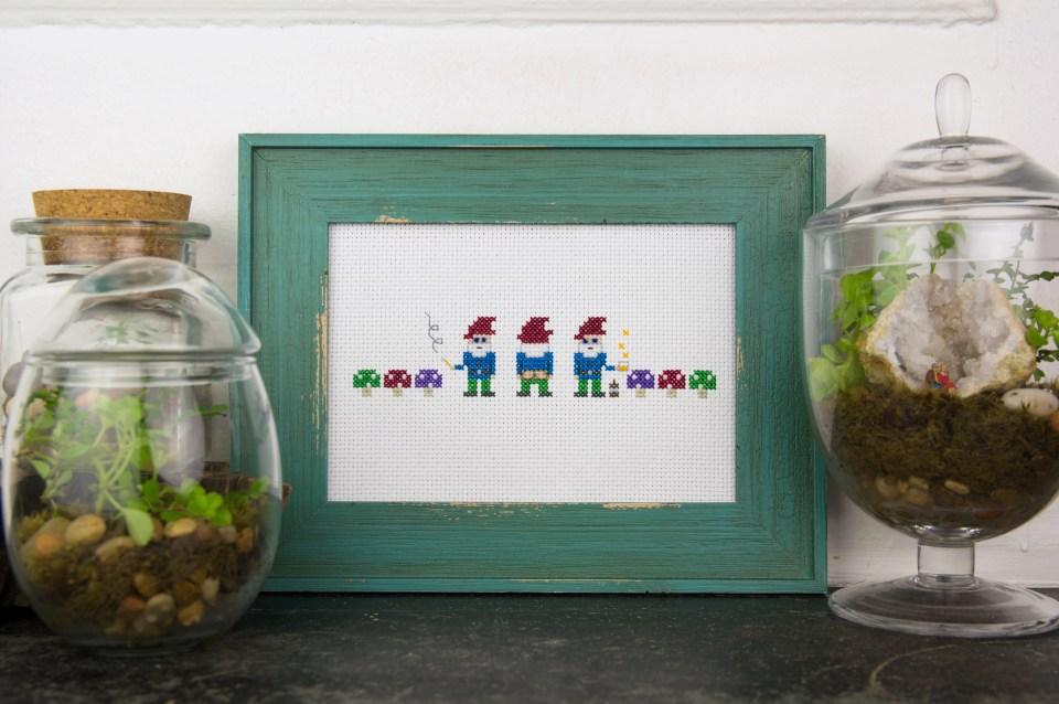 Badass Garden Gnomes - Improper Cross-Stitch, by Haley Pierson-Cox