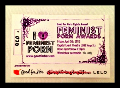 Ticket from the 2013 Feminist Porn Awards