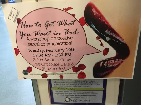 "Sign for ""How to get what you want in bed"" class"