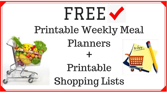 Subscribe and receive FREE printable weekly meal planners and printable shopping lists