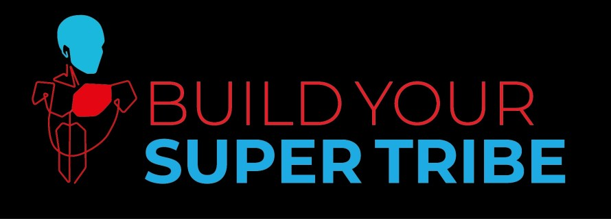 Logo Build Your Super-tribe book Red Heart Blue Head