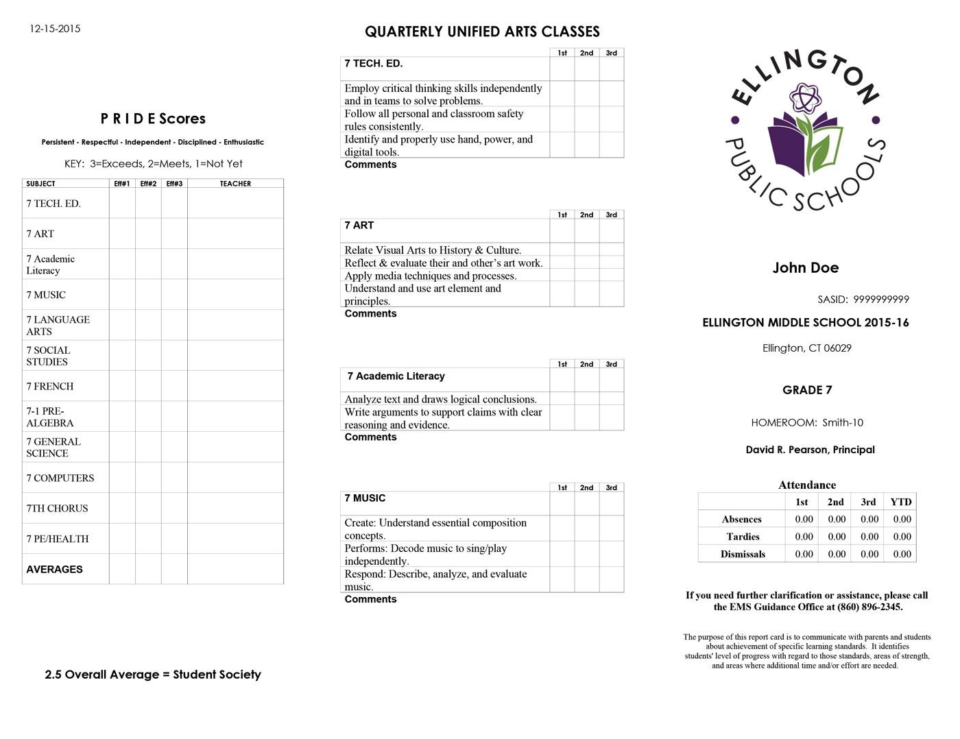 Ellington Middle School Report Card Sample