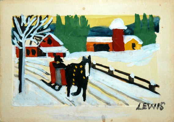 Sleigh Ride Christmas Card 2 By Maud Lewis Red Kettle