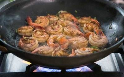 Garlic and Ginger Prawns in a Wok