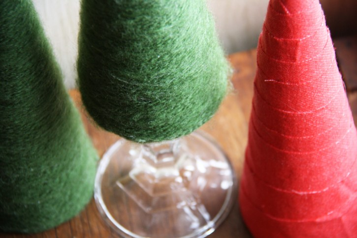 Green and red Christmas tree cones.