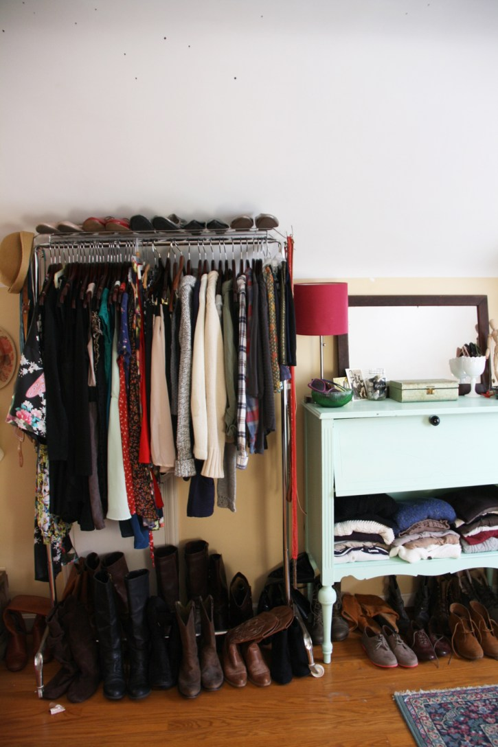 Clothes rack and shoes.