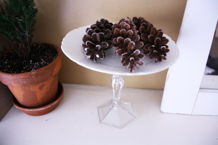 Pinecones displayed on a white cake stand.