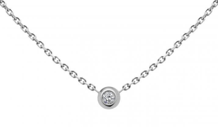 Redline Bijoux Mini Pure Collier Chaine Or Blanc Diamant