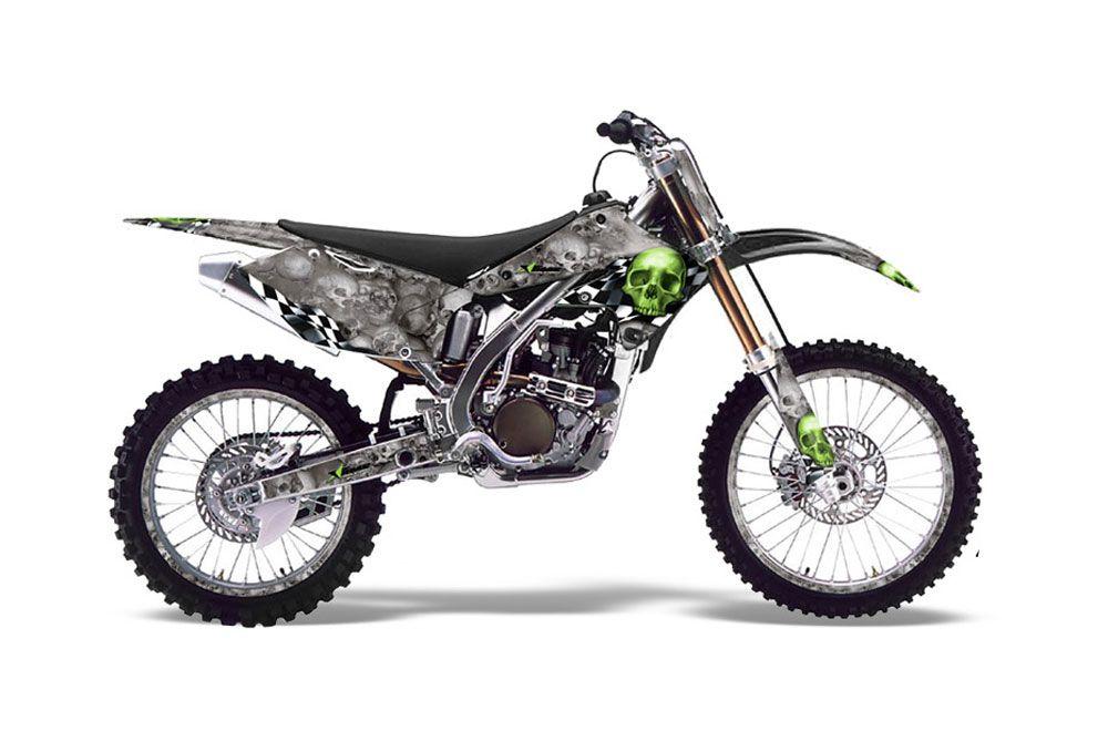 Kawasaki KX250F Dirt Bike Graphics: Checkered Skull