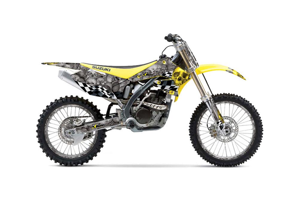 Suzuki RMZ 250 Dirt Bike Graphics: Checkered Skull