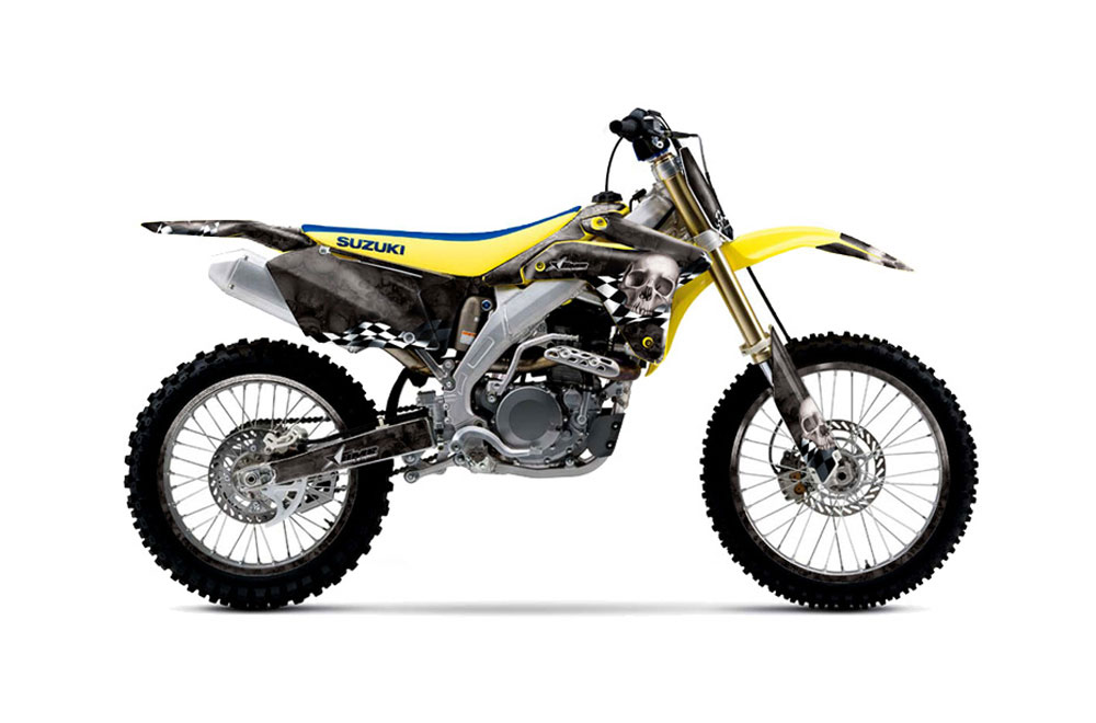 Suzuki RMZ 450 Dirt Bike Graphics: Checkered Skull
