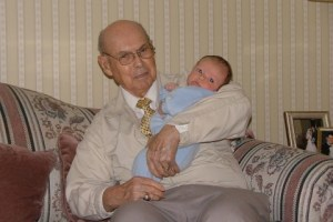 Daddy holding Joshua, a great grandson.
