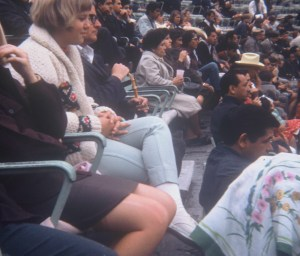 1967 Peggy's knee, with the run in her hose, Nola, and ME at 15 with the cane at a Bullfight Mexico City.  Do I look scarred?